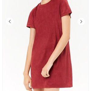 Forever21 burgundy suede mini dress M 👗